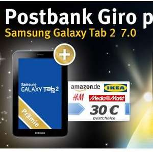 Web.de Club oder GMX + Postbank: Postbank Giro Plus + Galaxy Tab 2 7.0 + 30€ Gutschein
