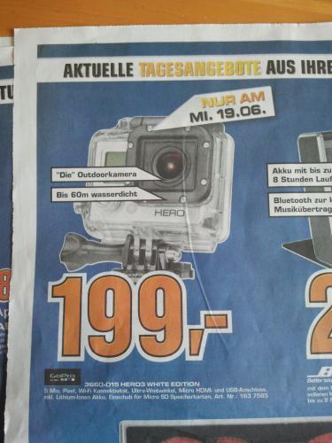 [Lokal] GoPro Hero 3 White Edition für 199 Euro im Saturn Heidelberg