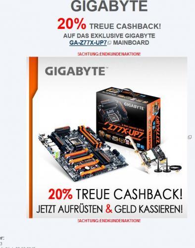20% Cashback auf das GIGABYTE UP7 Mainbaord