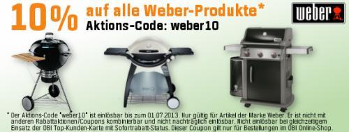 10% auf alle Weber-Produkte bei Obi.de