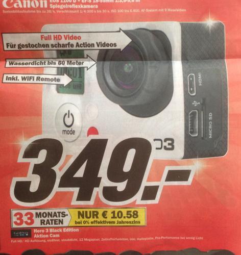 MM Münster (Bundesweit?) GoPro Hero 3 Black Edition 349,00 €