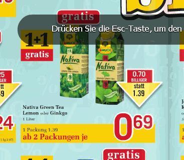 Nativa Green Tea von Rauch 1Liter Packung bei BILLA in ÖSTERREICH -50%