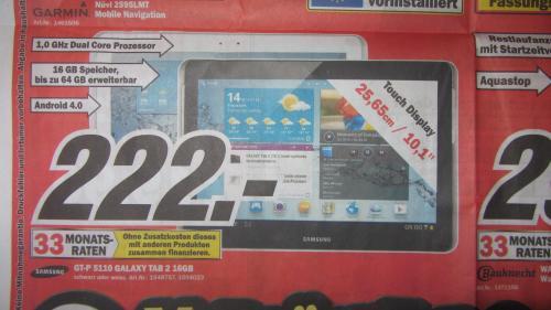 MediaMarkt Worms]Samsung Galaxy Tab 2 10.1 Wi-Fi 16GB für 222€