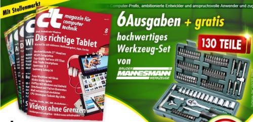 6x Ausgaben c't (Computerzeitschrift) + 130 tlg - Mannesmann - Werkzeugset [Pro Zeitschrift damit nur 2,53 EUR STATT 3,90 EUR]