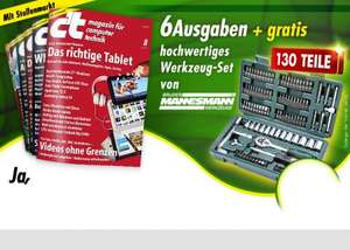 6 Ausgaben ct + 130 teiliger Steckschlüsselsatz von Gebr. Mannesmann für 15,20 EUR