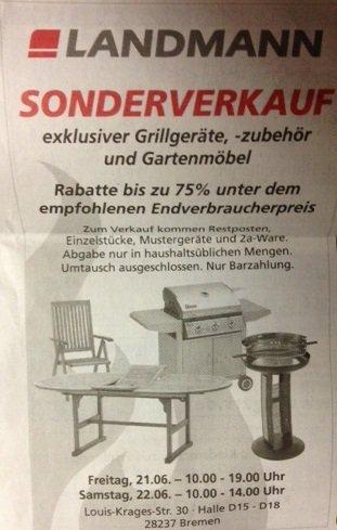[LOKAL BREMEN] Landmann Sonderverkauf - bis zu 75% Rabatt auf Grills, Gartenmöbel etc.