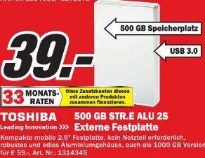 "Lokal MM Essen TOSHIBA STOR.E ALU 2S  2,5"" USB3.0 500 GB  39 €"