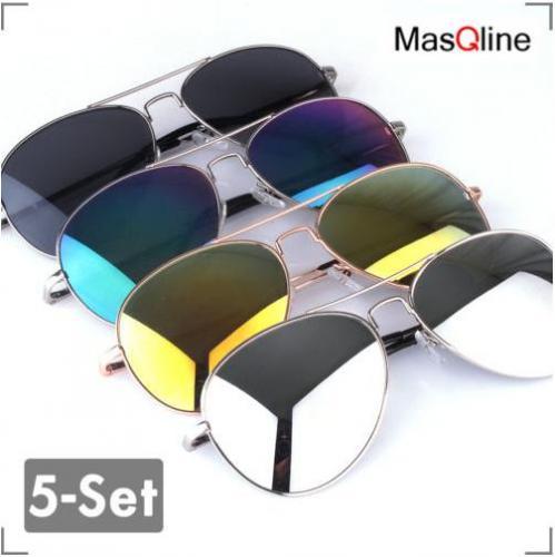 5-Set Pilotenbrille Aviator Wings Sonnenbrille von MasQline