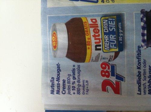 Nutella 880g für 2,89€ @ real