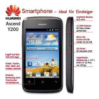 Huawei Y 201 Pro  /  NIMM 2 (Vertrag) 45,60 €