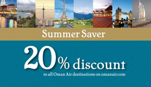 Summer Saver: 20% Rabatt auf allen Strecken bei Oman Air