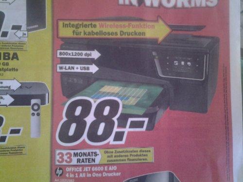 [MediaMarkt Worms] HP Office Jet 6600 E AIO 88€ (ggf. 58€ mit Trade-In Programm)