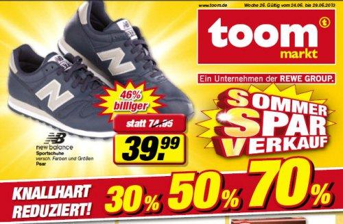 New Balance Sneaker verschiedene Farben und Größen für 39,99€ @ toom deutschlandweit