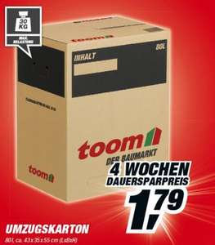 [Lokal Frankfurt?] 80L Umzugskartons für 1,79€  bei toom Baumarkt