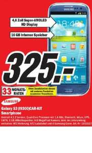 Samsung Galaxy S3 + KFZ Halterung + KFZ Ladekabel + 4 Samsung Coverhüllen im Mediamarkt Krefeld für 325 Euro