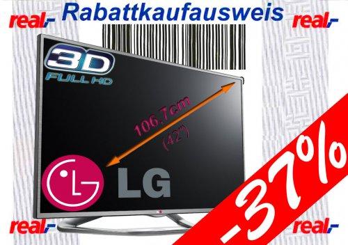 [Real] Rabattkauf 28.+29.06. | z.B. LG 42LA6134 Full HD 3D LED-TV | 106 cm (42 Zoll) Fernseher | A+, 100Hz, DVB-T/-C | nur 363,69€ => 219€ unter Idealo! >37% Ersparnis! | andere Kategorien bis zu 27,1% Personalrabatt