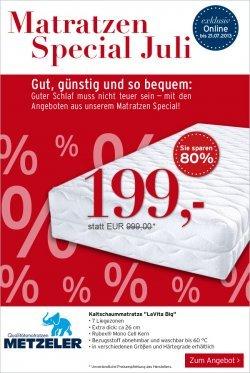 Karstadt Matratzen Special – Metzeler LaVita Big  80% reduziert & mit Gutschein nur 188,95€ statt 999€