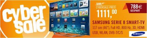 "Cybersale - Samsung Serie 8 UE46ES8090 46"", 3D Edge-LED, DVB-T/C/S2 800Hz  @Cyberport"