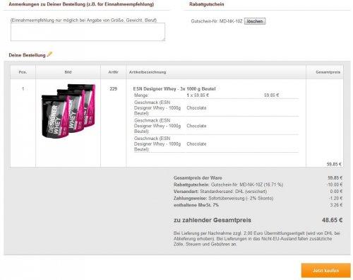*wieder da* ESN Designer Whey 3x1000g - 48,65€ [+10% QIPU]
