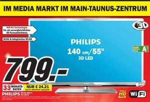 [ MM Sulzbach ]  Philips 55PFL5507K/12 139 cm (55 Zoll) 3D LED-Backlight-Fernseher, EEK A++ (Full-HD, 400Hz PMR, DVB-C/-T/-S2, CI+, Smart TV Plus, WiFi, USB Recording) silber schwarz gebürstet 799€