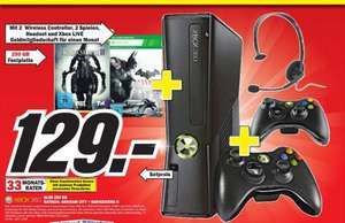 [  MM Sulzbach  ]  Xbox 360 slim 250GB + Batman: Arkham City + Darksiders II  + Headset  129€