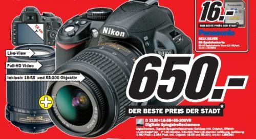 Media Markt Offenburg: Nikon D3100 Kit 18-55mm und 55-200mm für 650€ und andere gute Digicam-Preise!