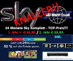 Sky Abo Komplett fürs 1. Jahr € 34,90 mtl. inkl. HD sowie im 2. Jahr € 39,90 mtl