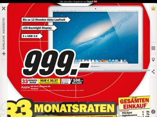 Neues MacBook Air 13 Zoll inkl. 256GB SSD - Media Markt regional Hannover - 999€