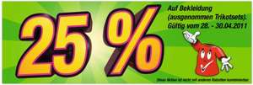 KiK 25% Rabatt auf bekleidung