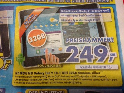 [REGIONAL] Euronics XXL Samsung Galaxy Tab 2 10.1 Wifi 32GB für 249 Euro