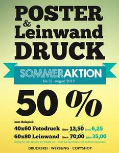 Poster 50% Reduziert beim CopyCenter in Bielefeld