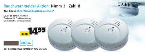 [Conrad] Cordes 3er Set Rauchwarnmelder VDS GS-506 1027 Schall-Druck (dB) 85 dB/3 m