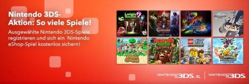 Nur noch heute! Ein kostenloses Nintendo 3DS Spiel bei Besitz von 3 bestimmten Games