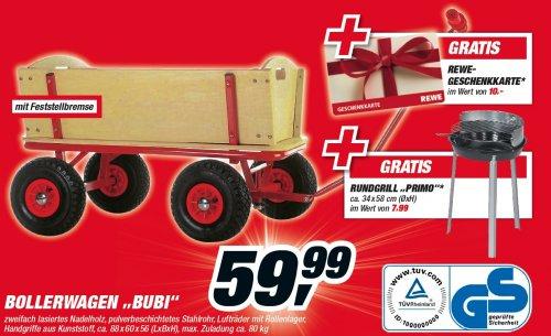 Bollerwagen Bubi mit Feststellbremse + 10,- EUR REWE Geschenkekarte + Rundgrill Primo für nur 59,99 EUR