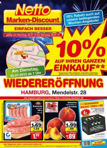 [Hamburg-Bergedorf] 10 Prozent auf gesamten Einkauf bei NETTO, Hamburg Mendelstr. 28