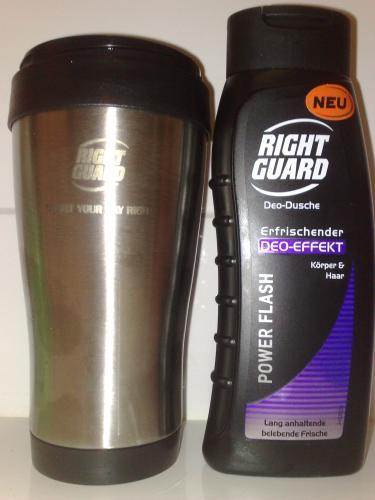[Offline]@REAL 3 RightGuard-Produkte (Duschmittel, Deo Roll-ON) kaufen (4,47€), Thermobecher umsonst