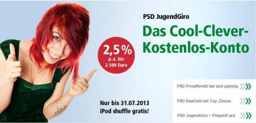 50 Euro + gratis ipod shuffle bei Kontoeröffnung bei der PSD Bank Berlin/Brandenburg (Schüler, Azubi, Studenten)