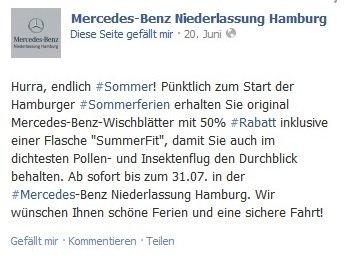 """[Lokal Hamburg] 50% auf Mercedes/Smart Wischerblätter + 1 Flasche """"Summerfit"""" gratis"""
