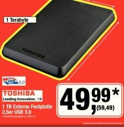 "[METRO] Toshiba Externe Festplatte 2,5"" 1TB USB 3.0 am Samstag 6.7.2013"
