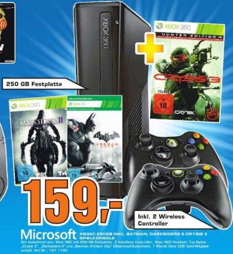 Xbox 360 Slim 250GB + Batman Arkham City + Darksiders 2 + Crysis 3 inkl. 2 Wireless Controller im Saturn Darmstadt und Weiterstadt für 159 Euro