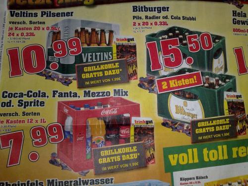 2x Kisten Bitburger Stubbi's + 2,5kg Grillkohle bei TRINKGUT (auch Coca Cola günstig)