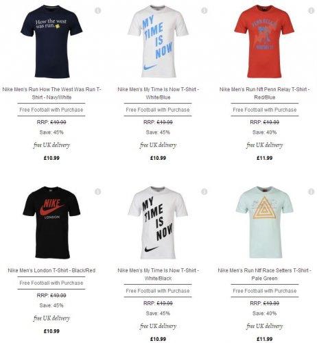 Nike™ & Umbro™ - Herren T-Shirt (6 Varianten) inkl. Fußball (6 Varianten) ab €11,49 [@TheHut.com]