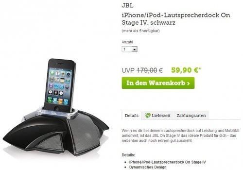 JBL iPhone/iPod-Lautsprecherdock On Stage IV (weiß oder schwarz) für EUR 66,80 (inkl. Versand)