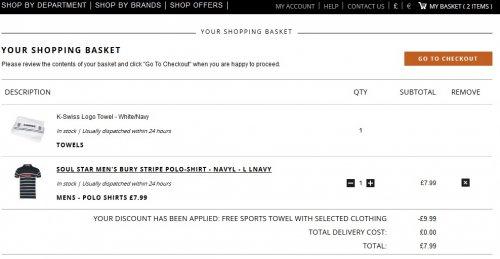 [TheHut]  Verschiedene T-Shirts und Polo Hemden für 8,12€ + gratis K-Swiss Handtuch