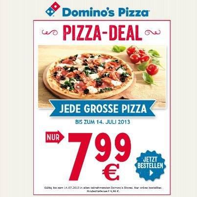 [Mehrere Städte - online] Jede große Pizza für 7,99 € @Domino's Pizza