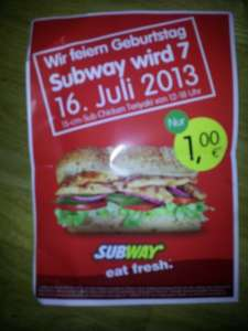 [lokal] Subway Stuttgart-Bad Cannstatt - 15-cm Chicken Teriyaki für 1 Euro am 16.07.2013