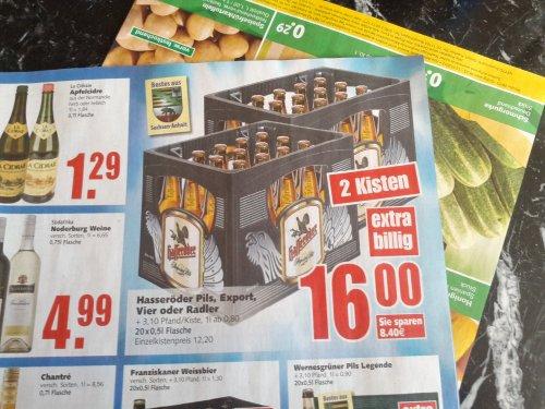 [Edeka] 2 Kisten (20x0,5l pro Kiste) Hasseröder