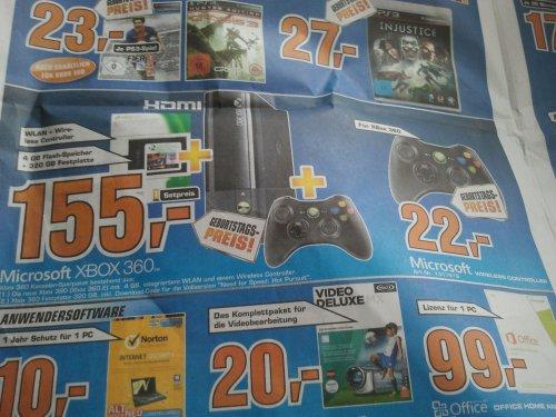 [Lokal] Saturn Karlsruhe Xbox 360 Wireless Controller für 22€ , Neue Xbox 360 mit 320gb und NFS Hot Pursuit für 155€