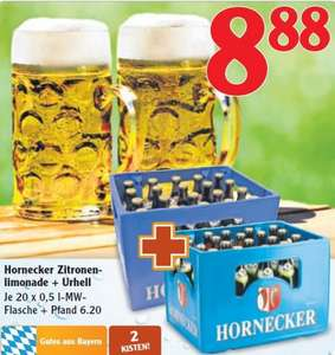 [Lokal] Globus Mühldorf 1 Kiste Hornecker Zitronenlimo + 1 Kiste Hornecker Urhell