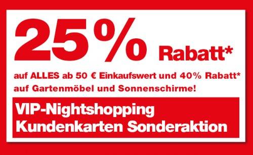 Hellweg Nightshopping am 10.7 (Wuppertal oder Onlineshop) 25% Rabatt auf alles (50 € MBW)